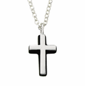 Sterling Silver Cross Necklace in a  Silver Polished Finish and Black Onyx Border