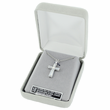 Sterling Silver Cross Necklace in an Antiqued Bow Design with Marcasite Stones