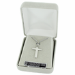 """Sterling Silver Cross Necklace in an Engraved inner Cross Design on 18"""" Chain"""