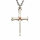 "Sterling Silver Cross Necklace in  Rope Centered Nail Design on 24"" Stainless Steel Rhodium Finish Chain"