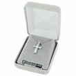 "Sterling Silver Cross Necklace with Crystal Baguette Stones on 18"" chain"