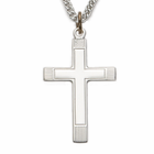 "Sterling Silver Cross Necklace with Inner Cross on 24"" Chain"