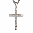 "Sterling Silver Cross with Crystal CZ Stones on 18"" Chain"