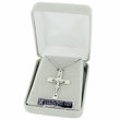 "Sterling Silver Crucifix Necklace in a Polished Trim and Black Enameled Design on 24"" chain"