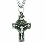 Sterling Silver Diamond End Celtic Crucifix On 24 Inch Stainless Steel Chain