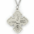 "Sterling Silver Engraved Four Way Medal Necklace on 18"" Chain"