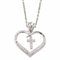 "Sterling Silver Heart with Crystal CZ Cross on 18"" Chain"