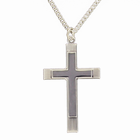 Sterling Silver Large Lines Polish Inner Cross on 24 Inch Chain