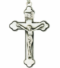 Sterling Silver 1 3/4 Inch Men's Budded Ends Crucifix on 24 Inch Chain