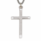 "Sterling Silver Men's Cross With Polished Ends & Brushed Finish On 24"" Chain"