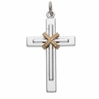 "Sterling Silver Men's Cross With Rope Center on 24"" Chain"