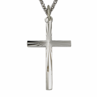 "Sterling Silver Men's Sunburst Design Cross on 24"" Chain"