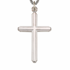 "Sterling Silver Men's Polished Finish Multi Line Cross on 24"" Chain"