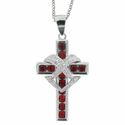 "Sterling Silver Red CZ Stone Cross Necklace with Crystal CZ Stone Heart on 18"" Rhodium Chain"