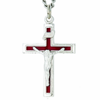 Sterling Silver Red Inlay 1 1/8 Inch Crucifix on 24 Inch Stainless Steel Chain