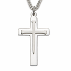 "Sterling Silver Rhodium Finish Cross Necklace in a Nail Design with a Inner Cross on 24"" Stainless Steel Rhodium Finish chain"