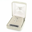 "Sterling Silver Rhodium Finish Pierced Cross with Crystal CZ Stone Center on 18"" Chain"