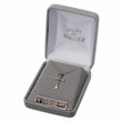 """Sterling Silver Rhodium Finish White Enameled Cross Necklace with Chalice on 18"""" Chain"""