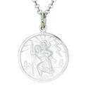 Sterling Silver Round St. Christopher 5/8 Inch Medal on 18 Inch Stainless Steel Chain