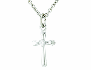 Sterling Silver Small Cross With CZ Crystal Stone Pendant On 13 Inch Stainless Steel Chain