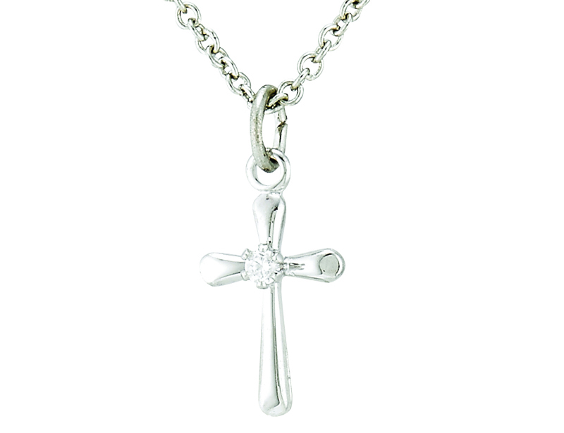 Sterling silver small crucifix pendant on 13 inch stainless steel chain aloadofball Gallery