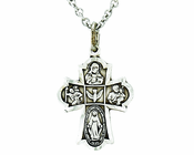 Sterling Silver Small Four Way Cross Pendant on 13 Inch Stainless Steel Chain