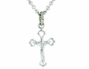 Sterling Silver Small Pierced Crucifix Pendant On 13 Inch Stainless Steel Chain