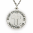 "Sterling Silver Soccer Player Medal with Cross on Back on 20"" Chain"