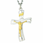 Sterling Silver Two Stone Finish 1 1/8 Inch Crucifix on 24 Inch Chain