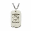 "Sterling Silver U.S. Navy Dog Tag, St. Michael on Back on 24"" Chain"