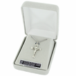 "Sterling Silver with White Enamled Heart Ends Crucifix on 18"" Chain"