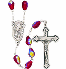 Tear Drop Cut Red Crystal Bead Rosary With Silver Crucifix