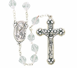 Tin Cut Crystal Bead Rosary With Silver Crucifix