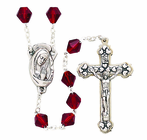 Tin Cut Red Crystal Bead Rosary With Silver Crucifix
