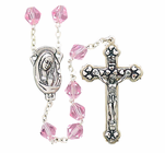Tin Cut Rose Crystal Bead Rosary With Silver Crucifix