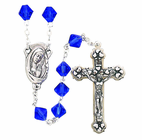 Tin Cut Sapphire Bead Rosary With Silver Crucifix