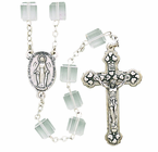 Tin Cut Square Crystal Bead Rosary With Silver Crucifix