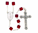 Tin Cut Square Red Bead Rosary With Silver Crucifix