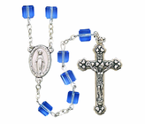 Tin Cut Square Sapphire Rosary With Silver Crucifix