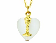 White Heart Gold Chalice On Gold 18 Inch Gold Chain