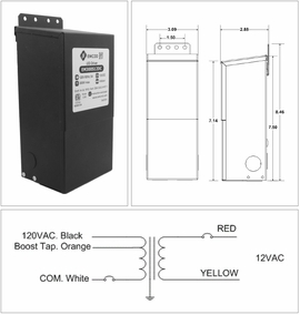EMCOD EM100S12AC 100W/12V Low Voltage Transformer AC