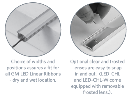 GM LIGHTING Aluminum Channels For Flexible LED Linear Ribbon