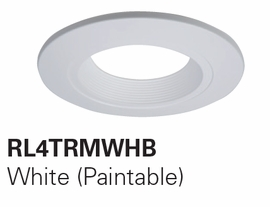 "HALO RL4TRM-WHB 4"" Designer Baffle Trims  Accessories for RL460 (White,,Paintable Trim)"