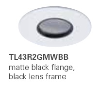HALO TL43R2GMWBB 2� Round Lens Pinhole Matte White,Black Lens Frame (Use with ML4 LED)