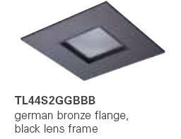 HALO TL44S2GGBBB 2� Square Lens Pinhole German Bronze,Black Lens Frame  (Use with ML4 LED)