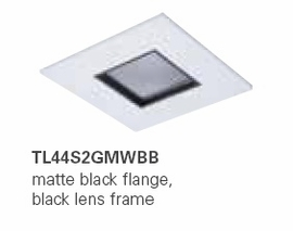 HALO TL44S2GMWBB 2� Square Lens Pinhole Matte White,Black Lens Frame (Use with ML4 LED)