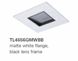 "HALO TL46S6GMWBB 2"" Square Lens Wall Wash Pinhole Matte White, Black Lens Frame (Use with ML4 LED)"