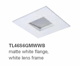 "HALO TL46S6GMWWB 2"" Square Lens Wall Wash Pinhole Matte White,White Lens Frame (Use with ML4 LED)"