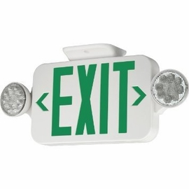 Hubbell CCG Thermoplastic Combination Exit with 2 head Emergency Light (Green Letters, White Housing, Single/Double Face)