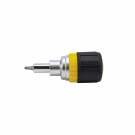 Klein Tools 32594 6-in-1 Ratcheting Stubby Screwdriver with Square Recess